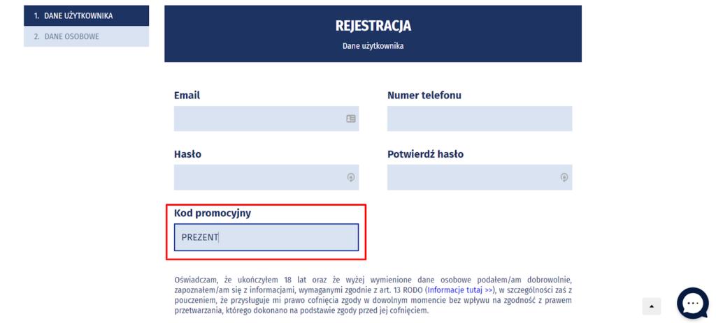 formularz rejestracyjny eWinner z wyszczególnionym polem na kod promocyjny
