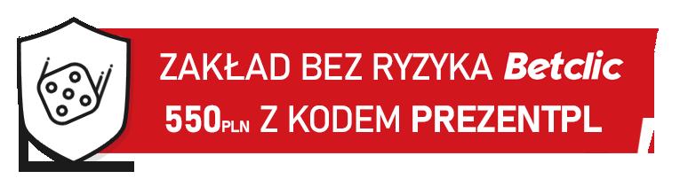 Zarejestruj się w Betclic z kodem promocyjnym PREZENTPL i dobierz cashback do 550 PLN.